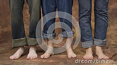 Three pairs of feet