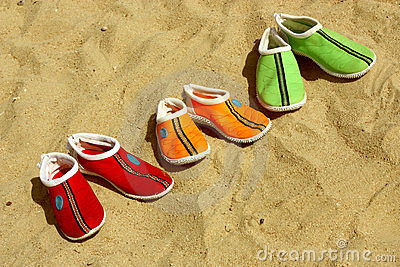 Three pairs of shoes for the beach