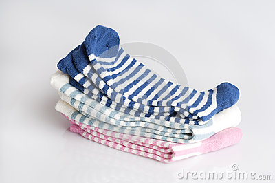 Three pairs of striped socks