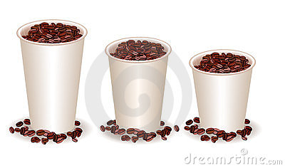 Three paper coffee cups with coffee beans