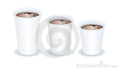 Three paper cups with cocoa