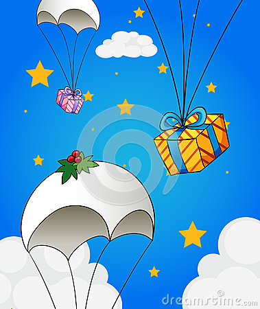Free Three Parachutes With Gifts Royalty Free Stock Image - 32731506