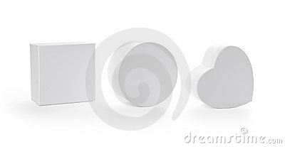 Three pasteboard gift boxes with clipping path