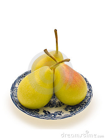 Free Three Pears In The Saucer Stock Photography - 6938622