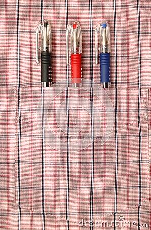 Free Three Pens In Shirt Pocket Royalty Free Stock Photography - 9347027