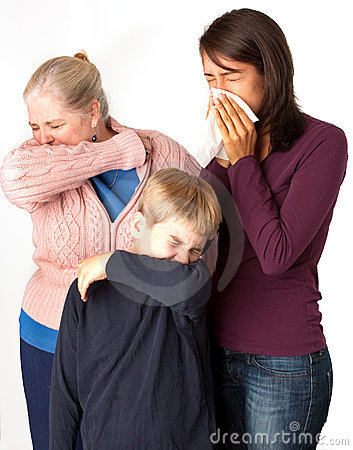 Three people sneezing/coughing
