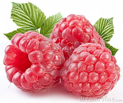 Three perfect ripe raspberries with leaves.