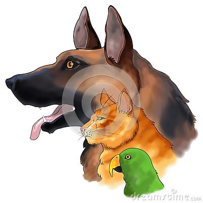 Free Three Pets Looking Forward In A Column () Royalty Free Stock Image - 30093636