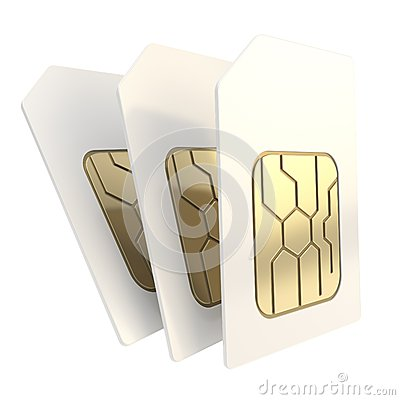 Three phone SIM cards with golden microchips