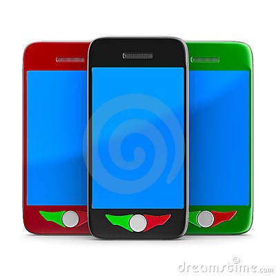 Three phone on white background. Isolated 3D