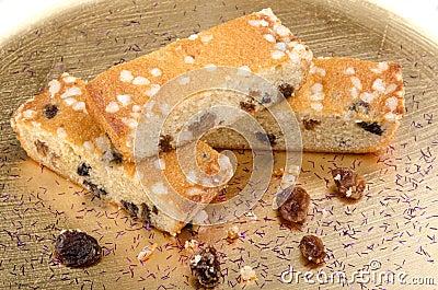 Three pieces of raisin cake