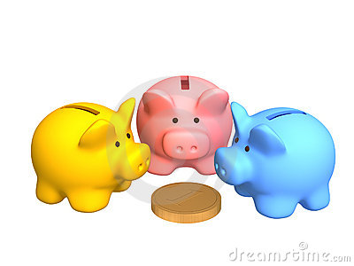 Three  pigs of a coin box, worth around of coin