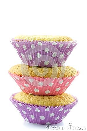 Three piled cupcakes