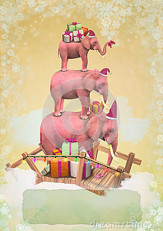 Three pink elephants in the sky with gifts