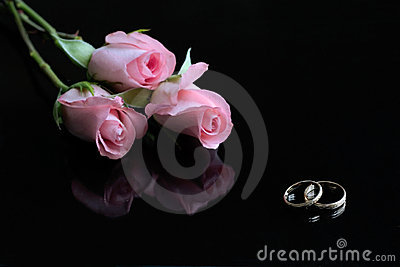 Three pink roses and wedding rings reflected in black surface