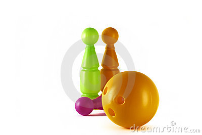 Three pins and ball on a white background.