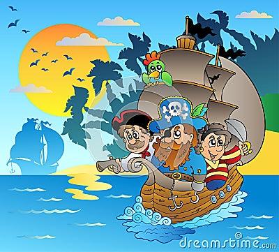 Three pirates in boat near island