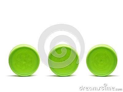 Three plastic caps