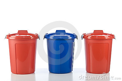 Three plastic drums