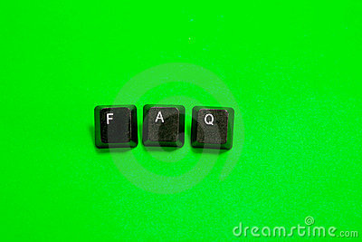 Three plastic keys with FAQ word