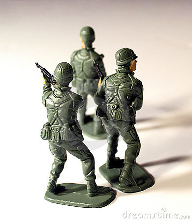 Three plastic soldiers from the Rear