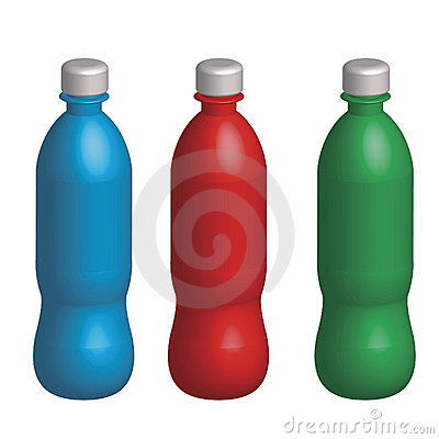 Three plastic varicoloured bottles