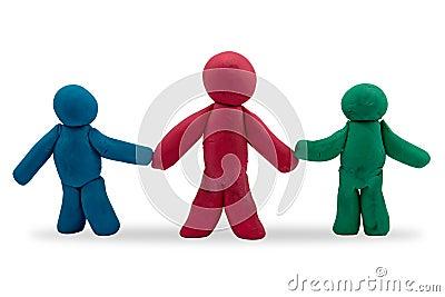 Three plasticine persons