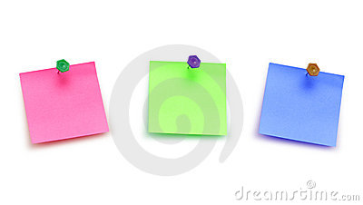 Three post it notes isolated