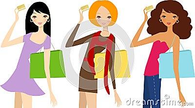Three pretty girls with card