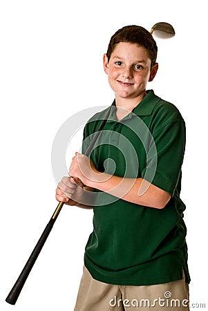 Young boy holding a golf club