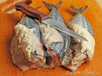 Three raw mackerels