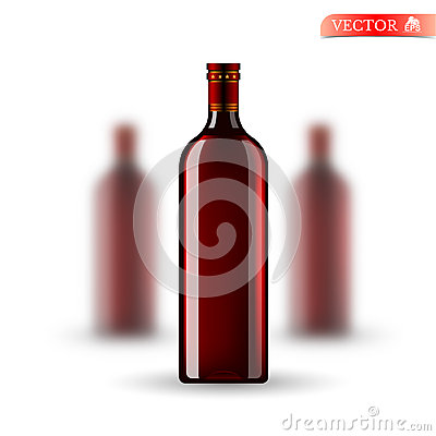 Free Three Realistic Mock Up Red Bottle Of Wine On White. Vector Illustration One Bottle Sharp And Two Bottles Depth Of Fiel Royalty Free Stock Images - 72791359