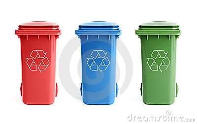 Three recycle bins