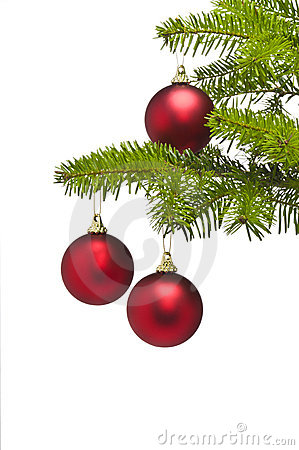 Three red balls in Christmas tree