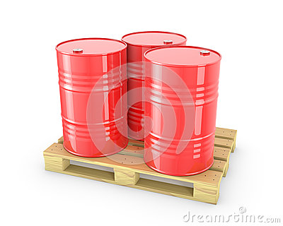 Three red barrels on a pallet