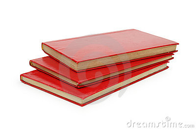 Three red books isolated
