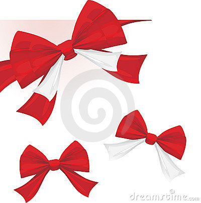 Three red bows isolated on the white