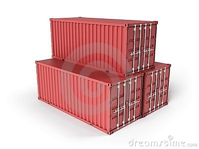 Three red cargo containers