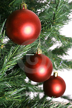 Three red christmas ornaments on tree