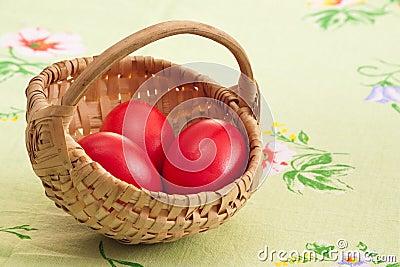 Three red eggs