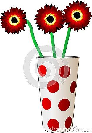 Three red flower