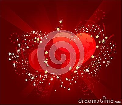 Three red heart