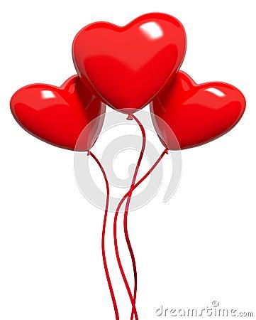 Three red hearts-balloons