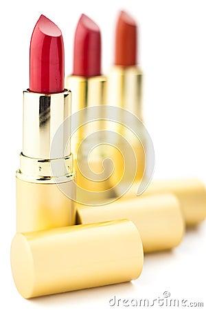 Free Three Red Lipsticks Royalty Free Stock Photo - 18534905