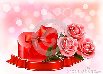 Three red roses with red heart-shape