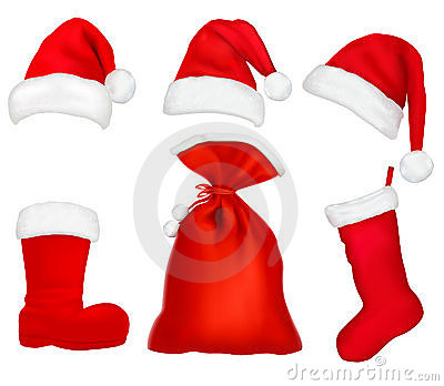 Three red santa hats and elements.