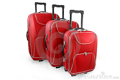 Three red travel suitcases