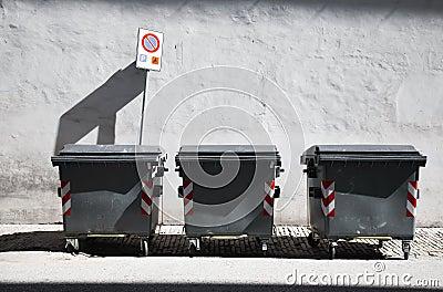 Three refuse bins