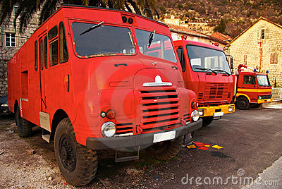 Three retro fire trucks