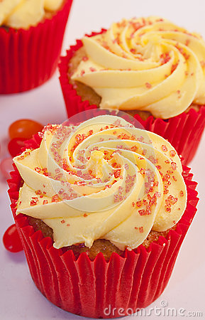 Three rhubarb cupcakes with jelly beans